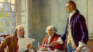 """Benjamin Franklin, John Adams, and Thomas Jefferson in """"Writing the Declaration of Independence, 1776,"""" by Jean Leon Gerome Ferris."""